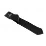 Wąski modny krawat CZARNY w komplecie poszetka