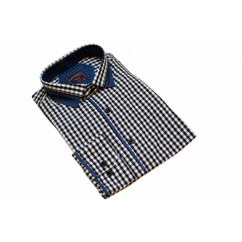 Koszula meska CASUAL REGULAR kratka jeans łaty  8TUnj