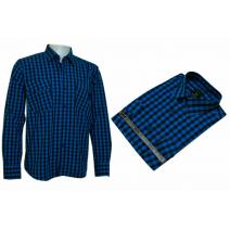 Koszula męska regular turkusowa w kratkę
