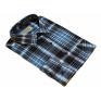 Flanelowa koszula męska w szaro-niebieską kratę