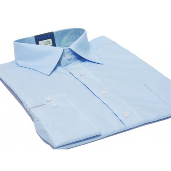 Koszula męska Slim-Fit błękitna dlugi rękaw mankiet na spinki lub guzik