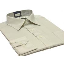 Koszula męska Slim-Fit szara-beżowa mankiet na spinki lub guzik