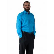 Wizytowa Koszula męska do garnituru TURKUSOWA z długim rękawem