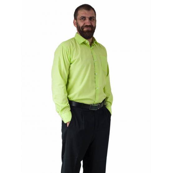 Wizytowa koszula męska pistacjowa z długim rękawem