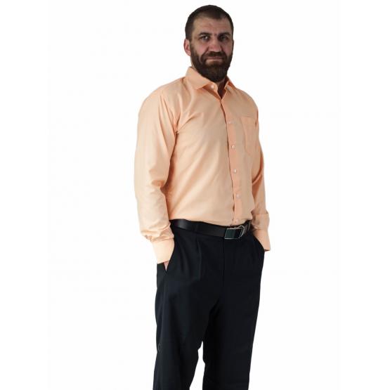 Wizytowa koszula męska POMARAŃCZOWO-MORELOWA  z długim rękawem 100% BAWEŁNA