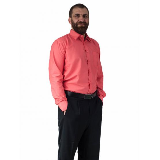 Wizytowa koszula męska MALINOWA z długim rękawem 100% BAWEŁNA