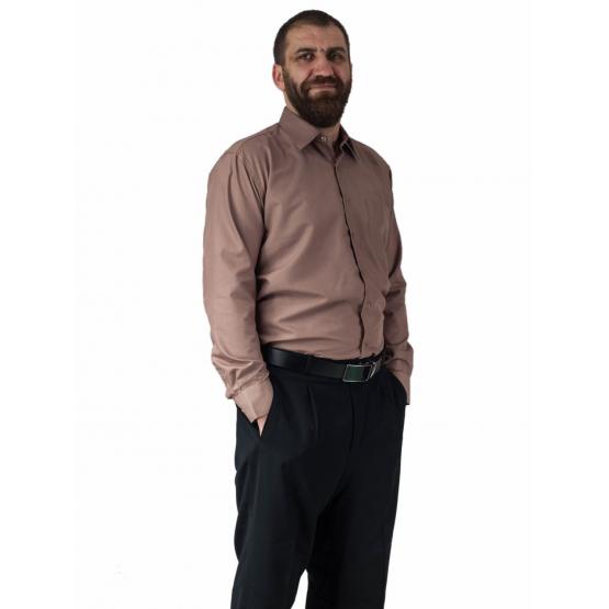 Wizytowa koszula męska karmelowa z długim rękawem LAVIINO.