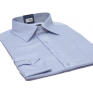 Koszula męska Slim-Fit niebieska w drobny prążek dlugi rękaw mankiet na spinki lub guzik.