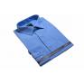 DUŻA koszula męska niebieska indygo GŁADKA z długim rękawem BAWEŁNA Lanvino