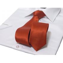 Krawat ŚLEDŹ KORALOWY czerwony gładki lekko błyszczący