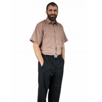 Elegancka koszula męska z krótkim rękawem KARMELOWA jasno brązowa
