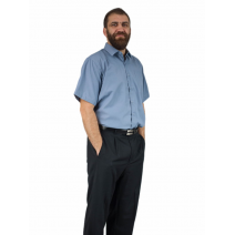Koszula męska SZARA-POPIELATA z krótkim rękawem bawełniana