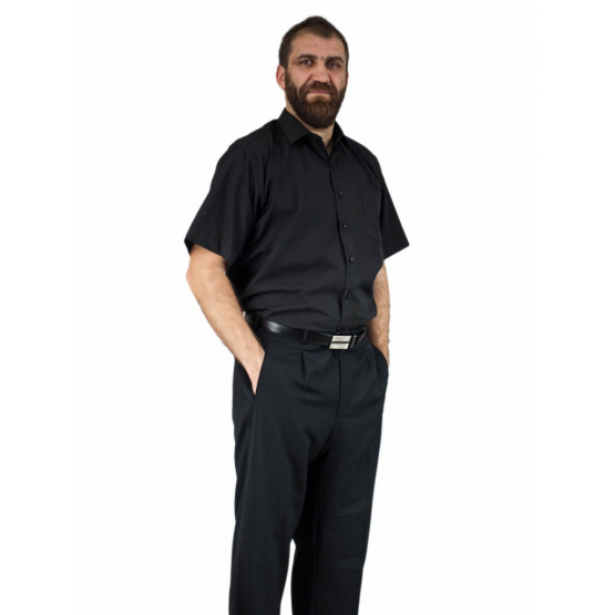 ELEGANCKA koszula męska czarna bawełniana Lanvino