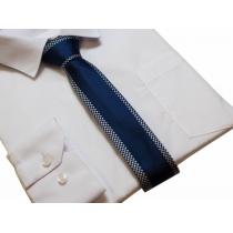 Elegancki krawat śledź granatowy tkany wzór