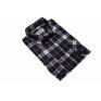 Flanelowa koszula męska w granatowo-brązową kratę