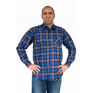 Flanelowa koszula męska w chabrowo-czarną kratę