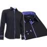 Granatowa koszula męska kryta plisa krój SLIM FIT