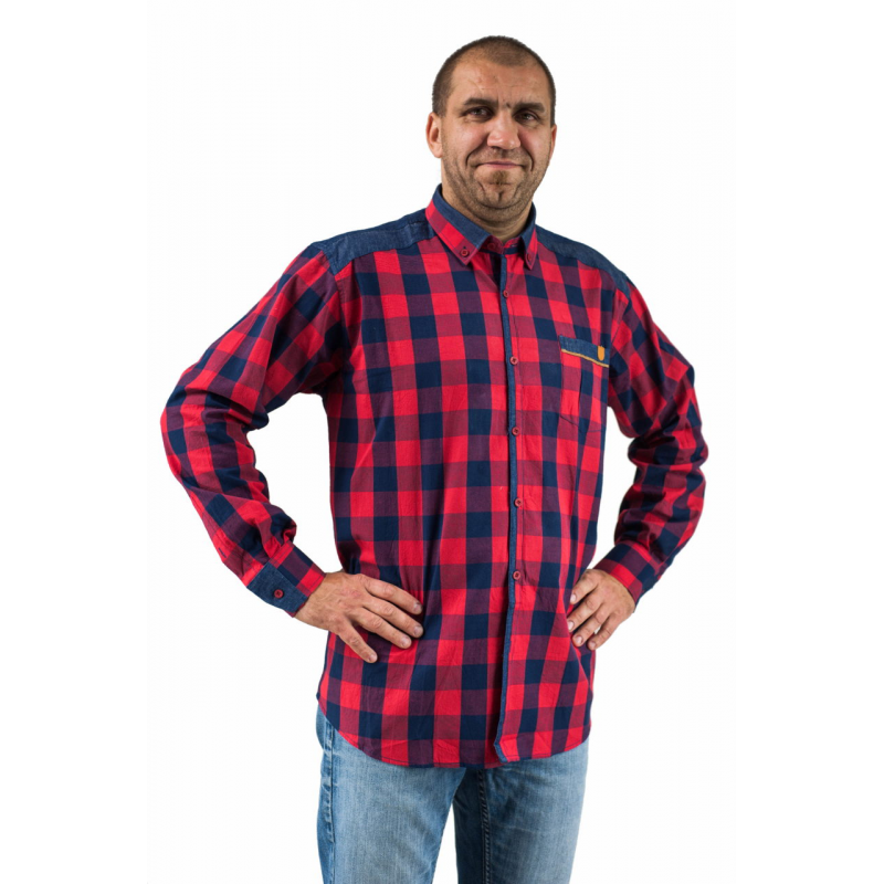 Koszula meska casual regular czerwona i granatowa krata jeans  8mTSF