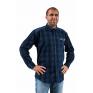 Koszula męska casual granatowa czarna duża krata