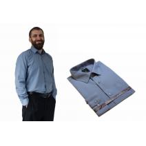 Elegancka koszula męska SZARA z długim rękawem bawełniana.
