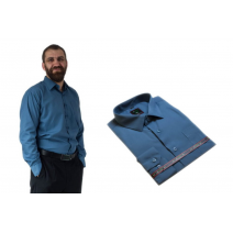 ELEGANCKA koszula męska STALOWA popielata długi rękaw