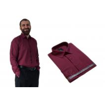 Wizytowa koszula męska do garnituru czerwona-wiśnowa długi rękaw Lanvino.