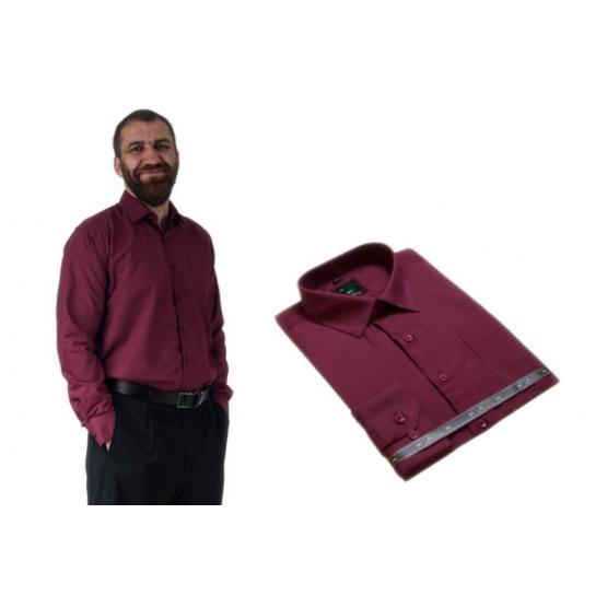 Wizytowa koszula męska do garnituru czerwona-wiśnowa z długim rękawem, Lanvino.