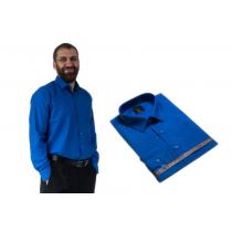 Wizytowa koszula męska niebieska CHABROWA szafirowa z długim rękawem