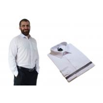 Laviino elegancka koszula męska BIAŁA gładka długi rekaw bawełna