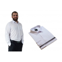 Biała elegancka koszula męska Laviino długi rekaw