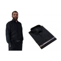 Wizytowa koszula męska CZARNA z długim rękawem 100% BAWEŁNA