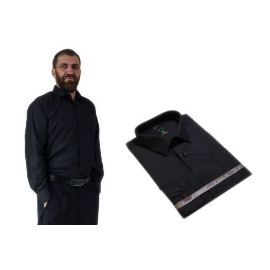 Wizytowa koszula męska CZARNA GŁADKA z długim rękawem 100% BAWEŁNA
