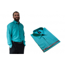Wizytowa koszula męska zielono-niebieska elegancka Laviino dl94