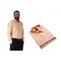 Wizytowa koszula męska POMARAŃCZOWO-MORELOWA długi rękaw 100% bawełna