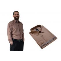 Wizytowa koszula męska karmelowa z długim rękawem LANVINO
