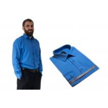 Wizytowa koszula męska klasyczna regular NIEBIESKA z długim rękawem