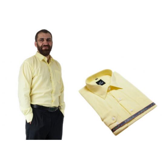 Wizytowa bawełniana koszula męska żółta cytrynowa