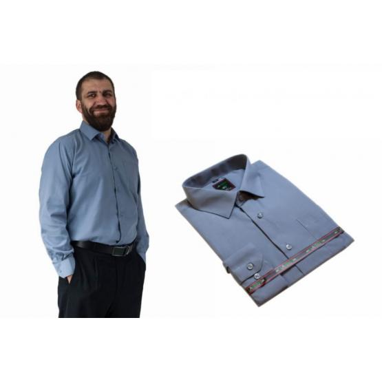 DUŻA koszula męska SZARA GŁADKA z długim rękawem 100% BAWEŁNA - Lanvino