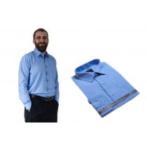 DUŻA koszula męska niebieska indygo bawełniana duże rozmiary Lanvino