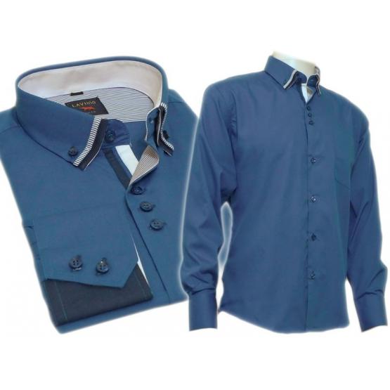 Koszula męska SLIM z podwójnym kołnierzykiem CHABROWA