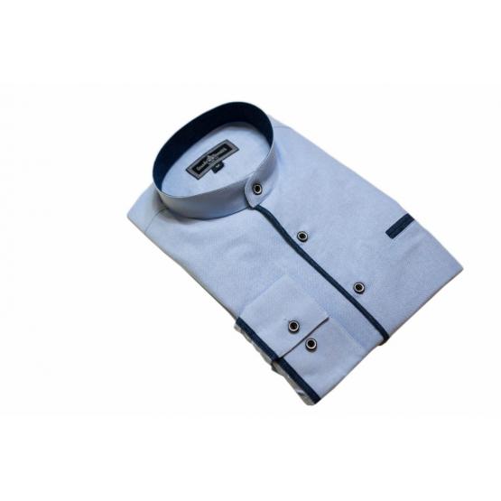 Elegancka koszula męska błękitna ze stójką