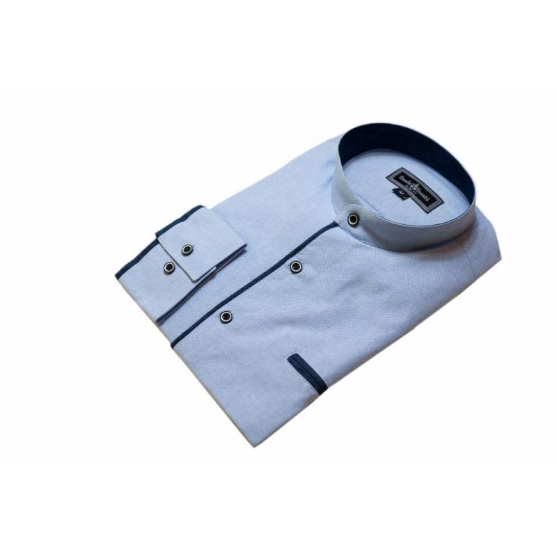 Elegancka koszula SLIM błękitna ze stójką  K9FFC
