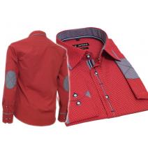 Elegancka koszula męska SLIM FIT w kropki czerwona łaty