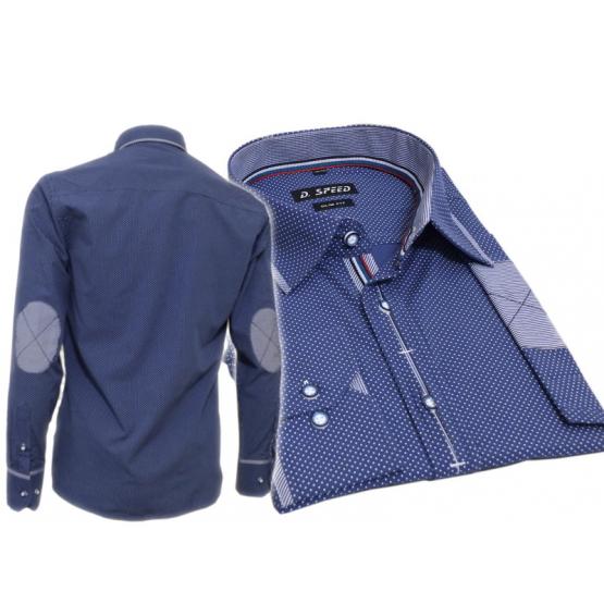 78f94ffb14b70a Elegancka koszula męska SLIM FIT w kropki niebieska łaty