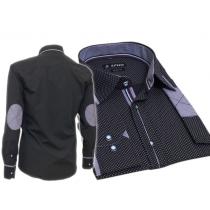 Elegancka koszula męska SLIM FIT w kropki granatowa łaty