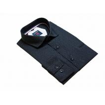 Elegancka koszula męska czarna w drobny wzorek