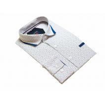 Elegancka koszula męska biała w granatowy wzorek