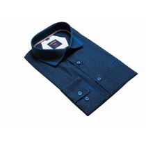 Elegancka koszula męska granatowa w drobny wzorek
