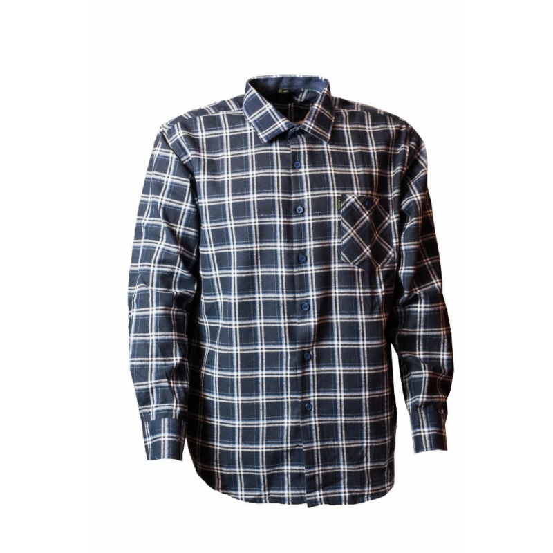 Koszula meska gruba bawełna granatowo biała kratka  HfRl3
