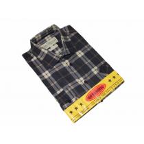 Flanelowa koszula męska w granatowo-beżową kratę